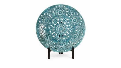 Lopez Floral Pierced Charger with Iron Stand