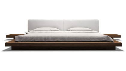 Brookline Bed - White on Walnut