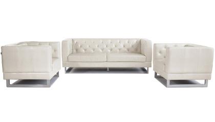 Zeta Sofa Set with 2 Armchairs- Cream