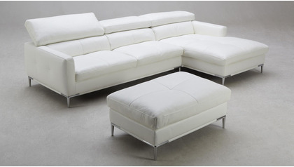 Eden Sectional with Ottoman - White