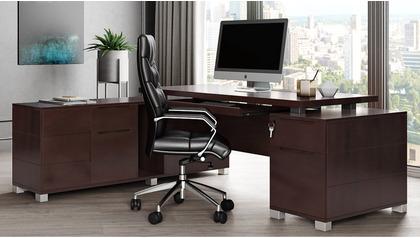 Ford Desk with Return - Dark Walnut