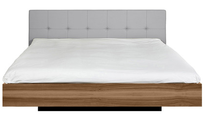 Alexa Bed Upholstered - Walnut and Grey
