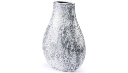 Grise Marbled Medium Vase Gray & White