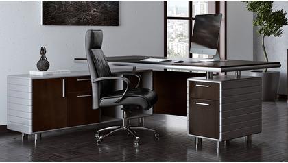Kennedy Desk with Return - Dark Walnut