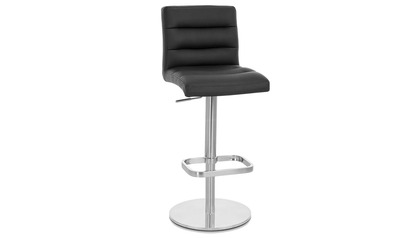 Black Lush Bar Stool - Round Flat Base