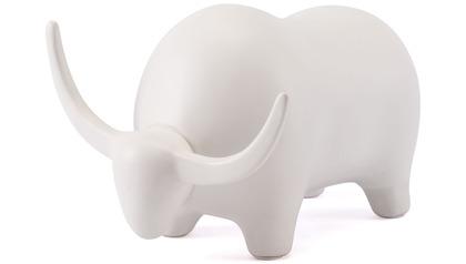 Matte White Bull Figurine