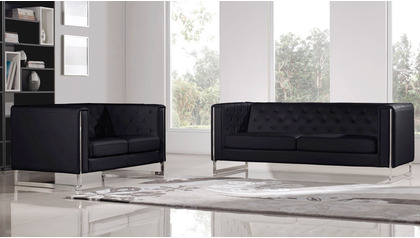 Easton Sofa and Loveseat Set - Black