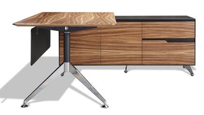 Darin Executive Desk with Right Return Cabinet, Zebrano