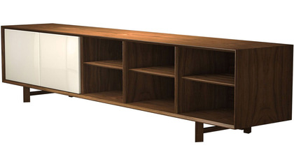 Cashel Media Cabinet - Walnut and Beige
