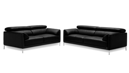 Eaton Sofa and Loveseat Set - Black