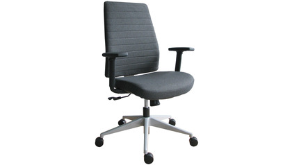 Frasso Fabric Swivel Chair with Adjustable Arms - Silver Base