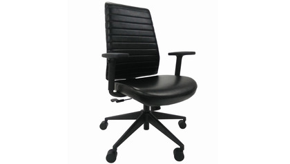 Frasso Leather Swivel Chair with Adjustable Arms