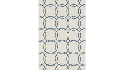 Palani Ivory and Blue Area Rug