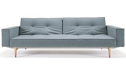 Sofi Split Back Sofabed with Armrests - Wood Base