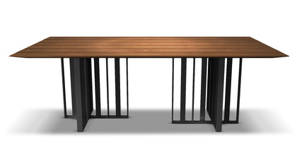 Saida 87 Inch Dining Table - Walnut on Graphite