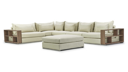 Soriano Wooden Arm L Sectional with Ottoman - Beige