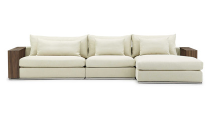 Soriano Wooden Arm Sectional - Beige