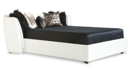Vitali Microfiber Leather Bed - White