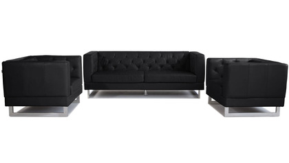 Zeta Sofa Set with 2 Armchairs - Black