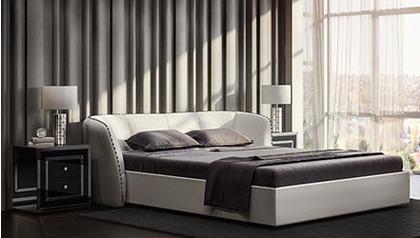 Vitali Microfiber Leather Bed - White
