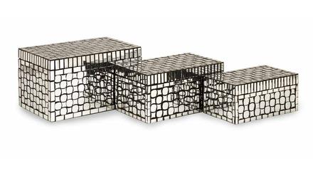 Foley Mirror Mosaic Boxes - Set of 3