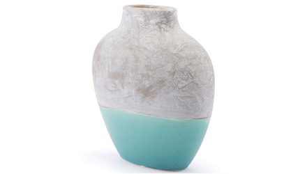 Azte Small Vase Gray & Teal