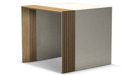 Badan Side Table - Natural Oak and Beige
