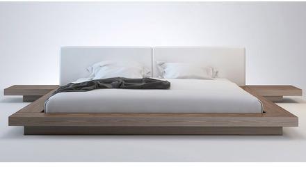 Brookline Bed - White on Walnut