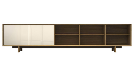 Cashel Media Cabinet - Natural Oak and Beige