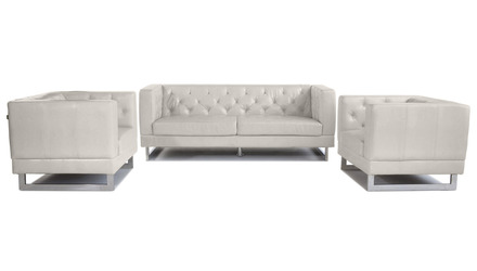 Zeta Sofa Set with 2 Armchairs- Cream