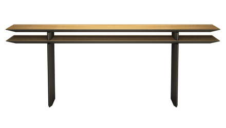 "Kaesha Console Table 79"" - Natural Oak on Bronze"