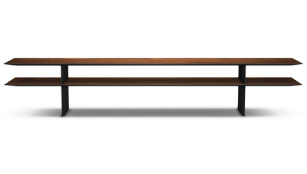 "Kaesha Console Table 87"" - Walnut on Graphite"