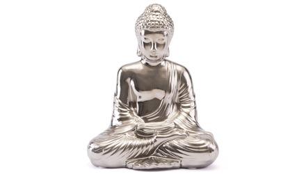 Matte Silver Sitting Buddha