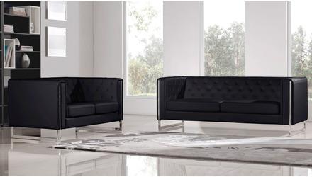 Easton Sofa and Loveseat Set - Black