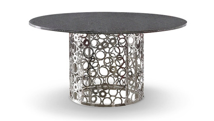 Galileo 60 Inch Smoked Crackle Glass Dining Table