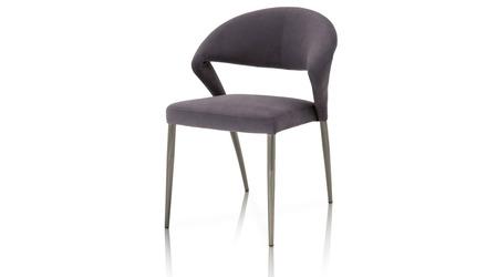 Saskia Dining Chair Grey on Black Chrome - Set of 2