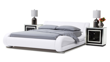 Marlo Leather Bed - White