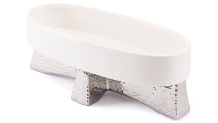 Queen Bowl Large White & Silver