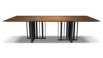 Saida 106 Inch Dining Table - Walnut on Graphite