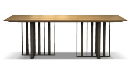 Saida 87 Inch Dining Table - Natural Oak on Bronze