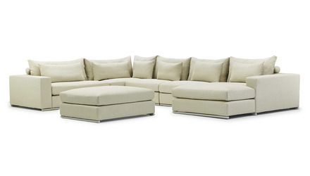 Soriano U Sectional with Ottoman - Beige