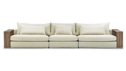 Soriano Wooden Arm Long Sofa - Beige