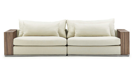 Soriano Wooden Arm Sofa - Beige