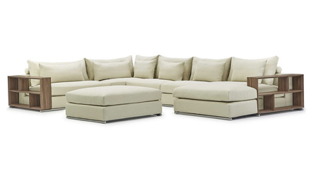 Soriano Wooden Arm U Sectional with Ottoman - Beige