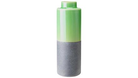 Stoneware Bottle Medium Green & Gray