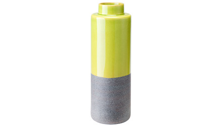 Stoneware Bottle Small Yellow And Gray