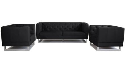Zeta Sofa Set with 2 Armchairs - Black