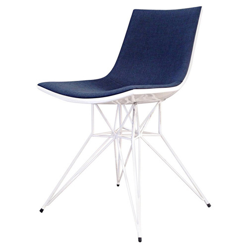 Adia Dining Chair Blue Denim on White Lacquer