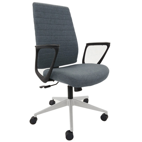 Frasso Fabric Swivel Chair with Loop Arms - Silver Base
