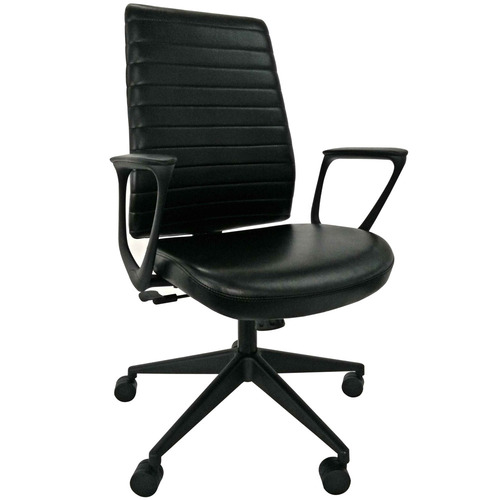 Frasso Leather Swivel Chair with Loop Arms
